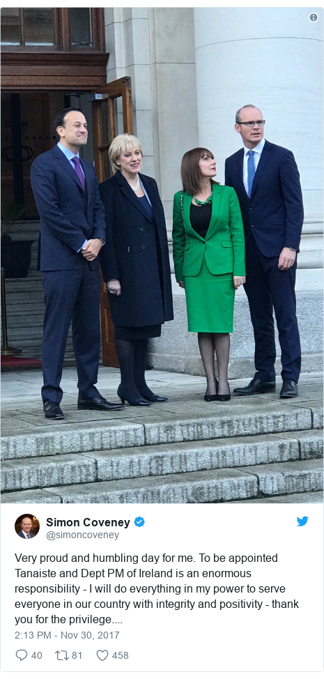 Twitter post by @simoncoveney: Very proud and humbling day for me. To be appointed Tanaiste and Dept PM of Ireland is an enormous responsibility - I will do everything in my power to serve everyone in our country with integrity and positivity - thank you for the privilege....