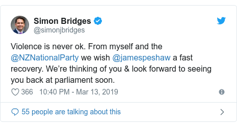 Twitter post by @simonjbridges: Violence is never ok. From myself and the @NZNationalParty we wish @jamespeshaw a fast recovery. We're thinking of you & look forward to seeing you back at parliament soon.
