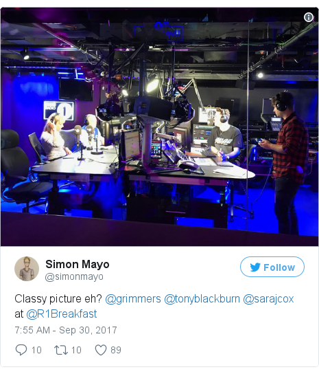 Twitter post by @simonmayo: Classy picture eh? @grimmers @tonyblackburn @sarajcox at @R1Breakfast pic.twitter.com/P6gdhfhedc