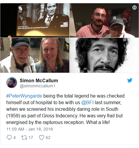 Twitter post by @simonmccallum1: #PeterWyngarde being the total legend he was checked himself out of hospital to be with us @BFI last summer, when we screened his incredibly daring role in South (1959) as part of Gross Indecency. He was very frail but energised by the rapturous reception. What a life!