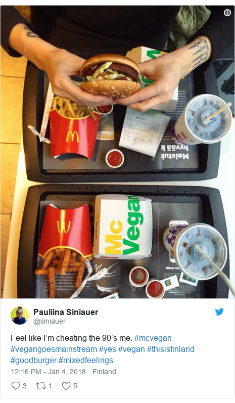 Twitter post by @siniauer: Feel like I'm cheating the 90's me. #mcvegan #vegangoesmainstream #yes #vegan #thisisfinland #goodburger #mixedfeelings