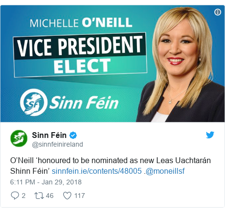 Twitter post by @sinnfeinireland: O'Neill 'honoured to be nominated as new Leas Uachtarán Shinn Féin'  .@moneillsf