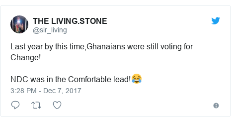 Twitter post by @sir_living: Last year by this time,Ghanaians were still voting for Change!NDC was in the Comfortable lead!😂