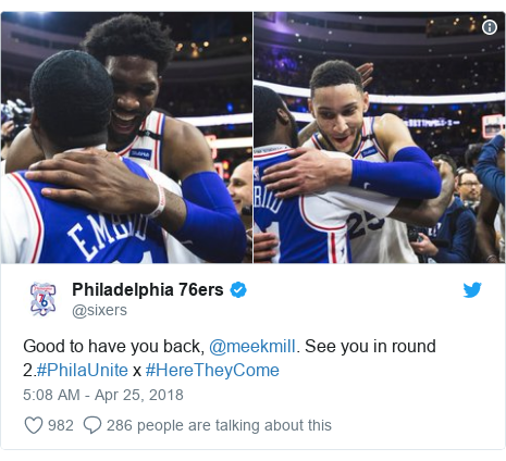 Twitter post by @sixers: Good to have you back, @meekmill. See you in round 2.#PhilaUnite x #HereTheyCome