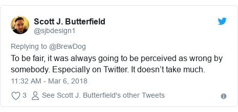 Twitter post by @sjbdesign1: To be fair, it was always going to be perceived as wrong by somebody. Especially on Twitter. It doesn't take much.
