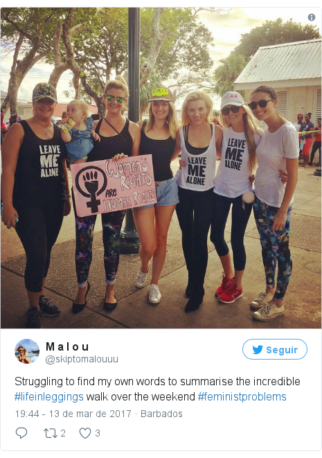 Twitter post de @skiptomalouuu: Struggling to find my own words to summarise the incredible #lifeinleggings walk over the weekend #feministproblems pic.twitter.com/SIO9Q9rjYa