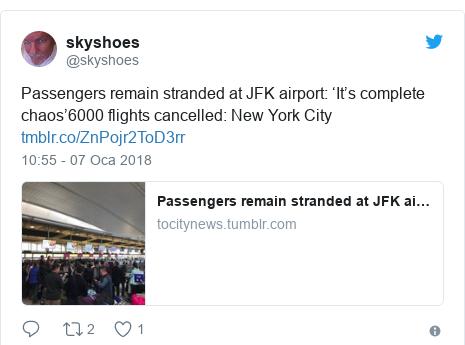 @skyshoes tarafından yapılan Twitter paylaşımı: Passengers remain stranded at JFK airport  'It's complete chaos'6000 flights cancelled  New York City