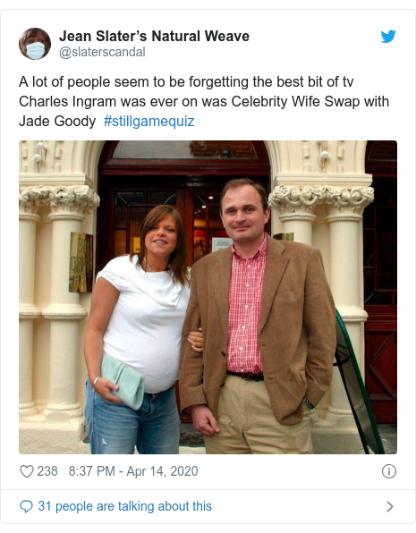 Twitter post by @slaterscandal: A lot of people seem to be forgetting the best bit of tv Charles Ingram was ever on was Celebrity Wife Swap with Jade Goody  #stillgamequiz