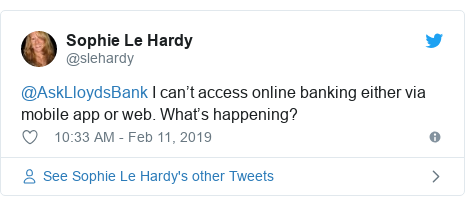 Twitter post by @slehardy: @AskLloydsBank I can't access online banking either via mobile app or web. What's happening?