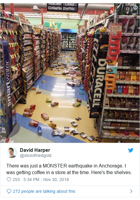 Twitter post by @slicedfriedgold: There was just a MONSTER earthquake in Anchorage. I was getting coffee in a store at the time. Here's the shelves.