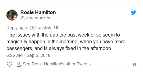 Twitter post by @slimemonkey: The issues with the app the past week or so seem to magically happen in the morning, when you have more passengers, and is always fixed in the afternoon....