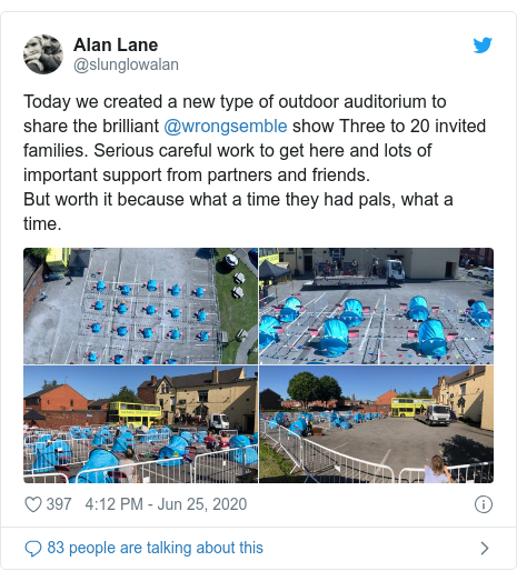 Twitter post by @slunglowalan: Today we created a new type of outdoor auditorium to share the brilliant @wrongsemble show Three to 20 invited families. Serious careful work to get here and lots of important support from partners and friends.But worth it because what a time they had pals, what a time.