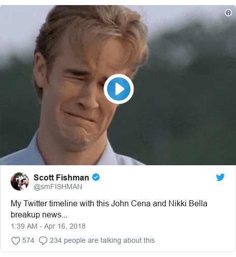 Twitter post by @smFISHMAN: My Twitter timeline with this John Cena and Nikki Bella breakup news...
