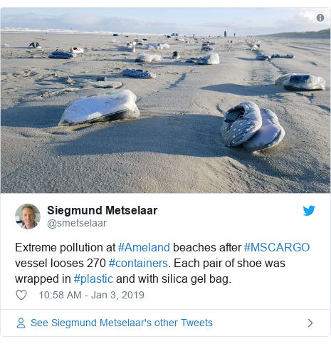 Twitter post by @smetselaar: Extreme pollution at #Ameland beaches after #MSCARGO vessel looses 270 #containers. Each pair of shoe was wrapped in #plastic and with silica gel bag.