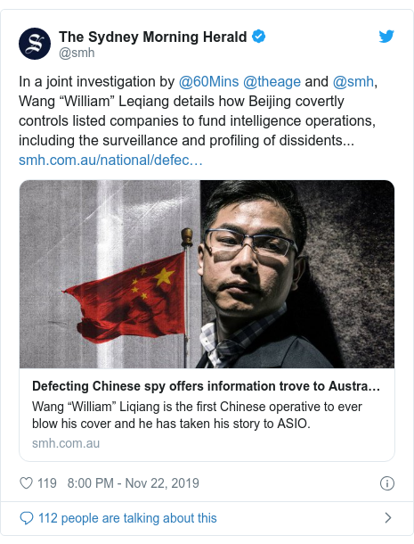 "Twitter post by @smh: In a joint investigation by @60Mins @theage and @smh, Wang ""William"" Leqiang details how Beijing covertly controls listed companies to fund intelligence operations, including the surveillance and profiling of dissidents..."