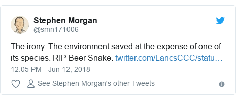 Twitter post by @smn171006: The irony. The environment saved at the expense of one of its species. RIP Beer Snake.