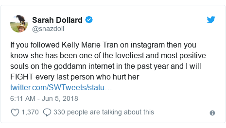 Twitter post by @snazdoll: If you followed Kelly Marie Tran on instagram then you know she has been one of the loveliest and most positive souls on the goddamn internet in the past year and I will FIGHT every last person who hurt her