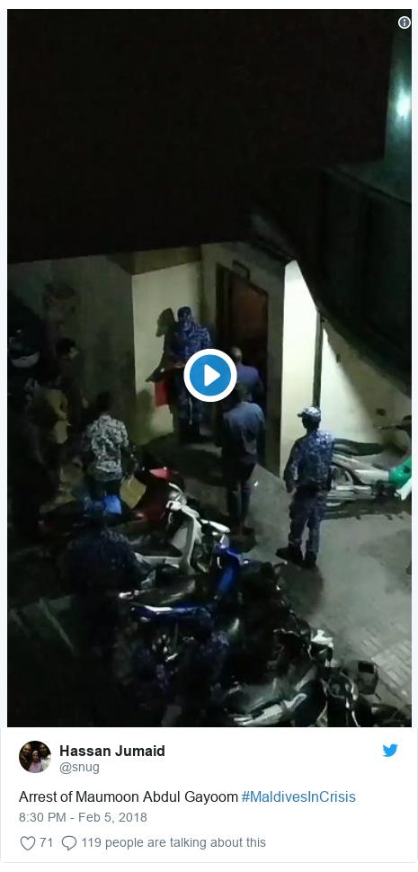 Twitter post by @snug: Arrest of Maumoon Abdul Gayoom #MaldivesInCrisis