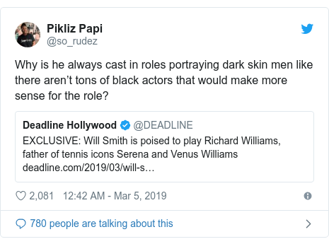 Twitter post by @so_rudez: Why is he always cast in roles portraying dark skin men like there aren't tons of black actors that would make more sense for the role?