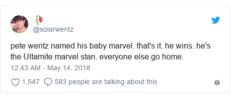 Twitter post by @solarwentz: pete wentz named his baby marvel. that's it. he wins. he's the Ultamite marvel stan. everyone else go home.