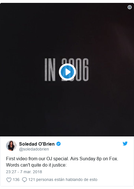 Publicación de Twitter por @soledadobrien: First video from our OJ special. Airs Sunday 8p on Fox. Words can't quite do it justice