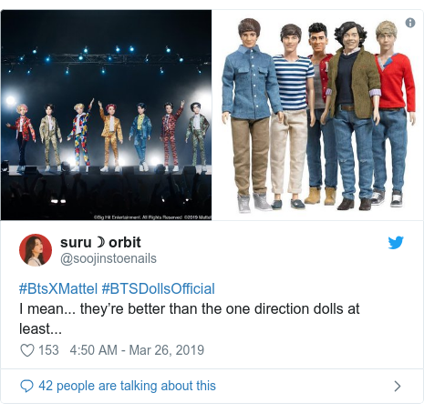 Twitter post by @soojinstoenails: #BtsXMattel #BTSDollsOfficialI mean... they're better than the one direction dolls at least...
