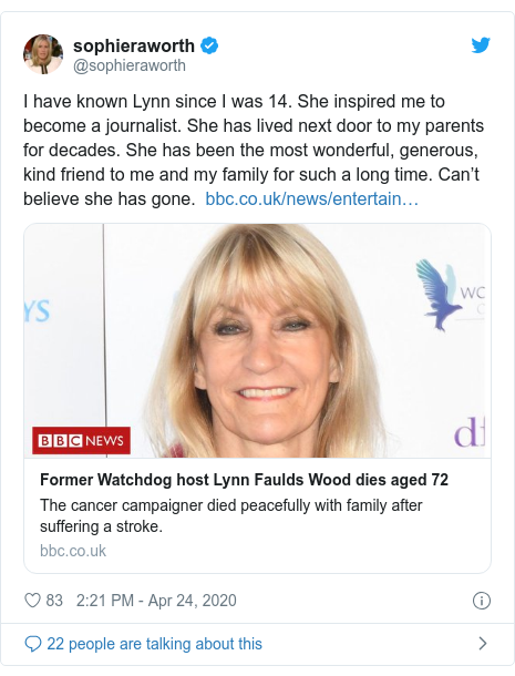 Twitter post by @sophieraworth: I have known Lynn since I was 14. She inspired me to become a journalist. She has lived next door to my parents for decades. She has been the most wonderful, generous, kind friend to me and my family for such a long time. Can't believe she has gone.