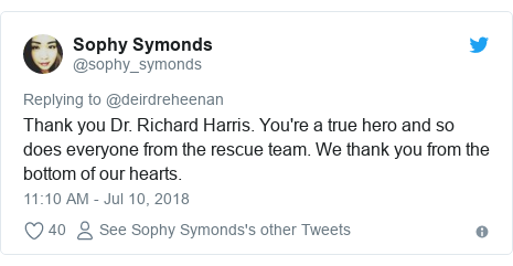 Twitter post by @sophy_symonds: Thank you Dr. Richard Harris. You're a true hero and so does everyone from the rescue team. We thank you from the bottom of our hearts.