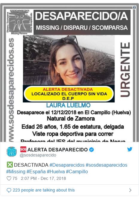 Twitter post by @sosdesaparecido: ❎ DESACTIVADA #Desaparecidos #sosdesaparecidos #Missing #España #Huelva #Campillo