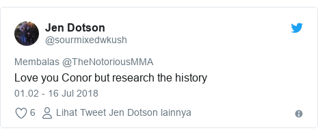 Twitter pesan oleh @sourmixedwkush: Love you Conor but research the history