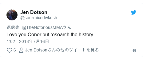 Twitter post by @sourmixedwkush: Love you Conor but research the history
