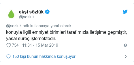 @sozluk tarafından yapılan Twitter paylaşımı: konuyla ilgili emniyet birimleri tarafımızla iletişime geçmiştir, yasal süreç işlemektedir.