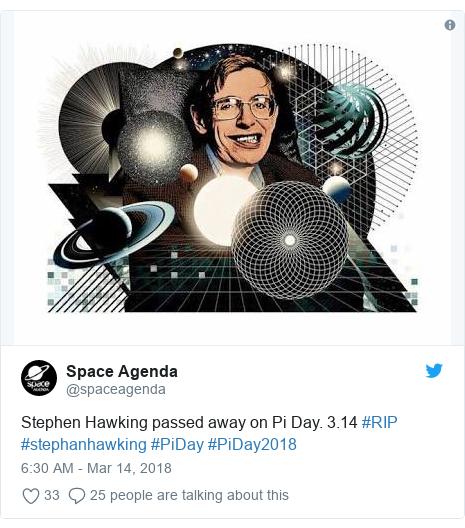 Twitter post by @spaceagenda: Stephen Hawking passed away on Pi Day. 3.14 #RIP #stephanhawking #PiDay #PiDay2018