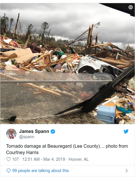 Twitter post by @spann: Tornado damage at Beauregard (Lee County)… photo from Courtney Harris