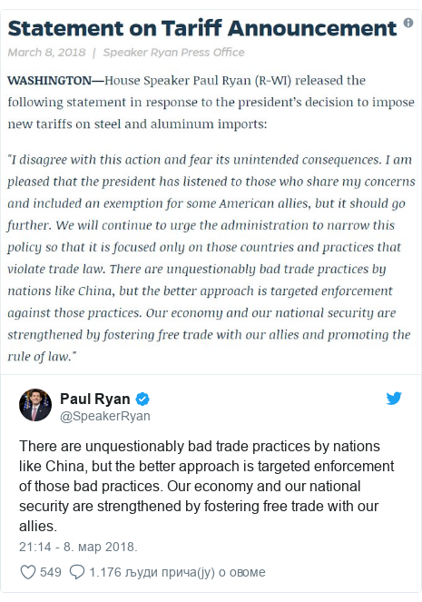Twitter post by @SpeakerRyan: There are unquestionably bad trade practices by nations like China, but the better approach is targeted enforcement of those bad practices. Our economy and our national security are strengthened by fostering free trade with our allies.