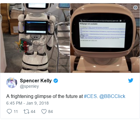 Twitter post by @spenley: A frightening glimpse of the future at #CES. @BBCClick