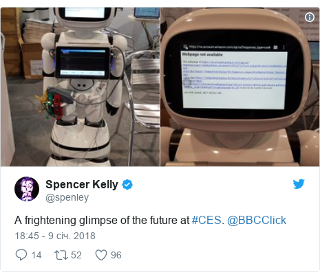 Twitter допис, автор: @spenley: A frightening glimpse of the future at #CES. @BBCClick