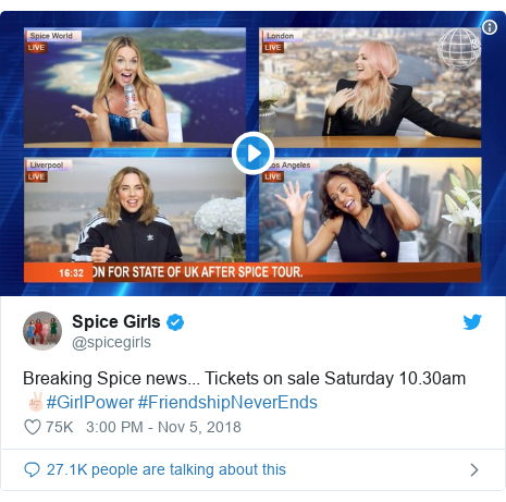 Twitter post by @spicegirls: Breaking Spice news... Tickets on sale Saturday 10.30am ✌🏻#GirlPower #FriendshipNeverEnds