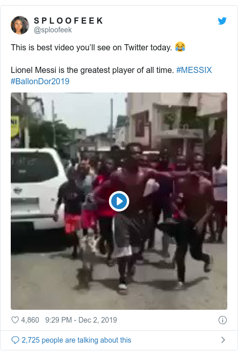 Twitter post by @sploofeek: This is best video you'll see on Twitter today. 😂Lionel Messi is the greatest player of all time. #MESSIX #BallonDor2019