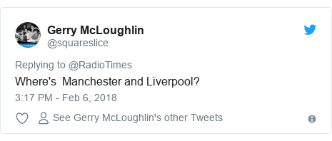 Twitter post by @squareslice: Where's  Manchester and Liverpool?