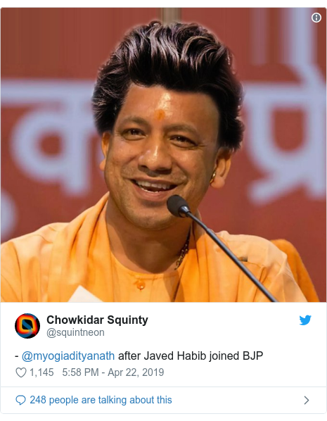 Twitter post by @squintneon: - @myogiadityanath after Javed Habib joined BJP
