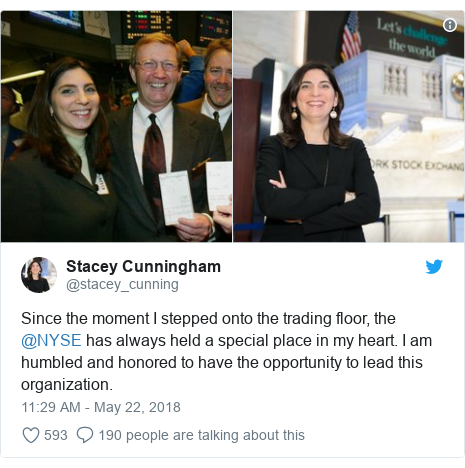 Twitter post by @stacey_cunning: Since the moment I stepped onto the trading floor, the @NYSE has always held a special place in my heart. I am humbled and honored to have the opportunity to lead this organization.