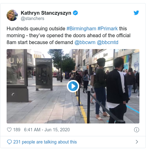 Twitter post by @stanchers: Hundreds queuing outside #Birmingham #Primark this morning - they've opened the doors ahead of the official 8am start because of demand @bbcwm @bbcmtd