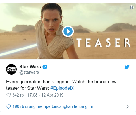 Twitter pesan oleh @starwars: Every generation has a legend. Watch the brand-new teaser for Star Wars  #EpisodeIX.