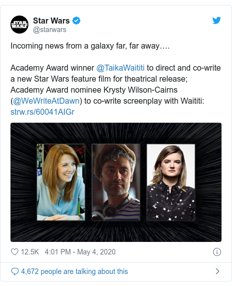 Twitter post by @starwars: Incoming news from a galaxy far, far away….Academy Award winner @TaikaWaititi to direct and co-write a new Star Wars feature film for theatrical release; Academy Award nominee Krysty Wilson-Cairns (@WeWriteAtDawn) to co-write screenplay with Waititi