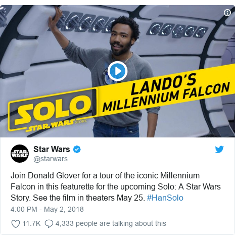 Twitter post by @starwars: Join Donald Glover for a tour of the iconic Millennium Falcon in this featurette for the upcoming Solo  A Star Wars Story. See the film in theaters May 25. #HanSolo