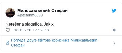 Twitter post by @stefanm0609: Nerešena slagalica. Jak x