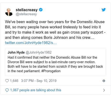 Twitter post by @stellacreasy: We've been waiting over two years for the Domestic Abuse Bill, so many people have worked tirelessly to feed into it and try to make it work as well as gain cross party support - and then along comes Boris Johnson and his crew....