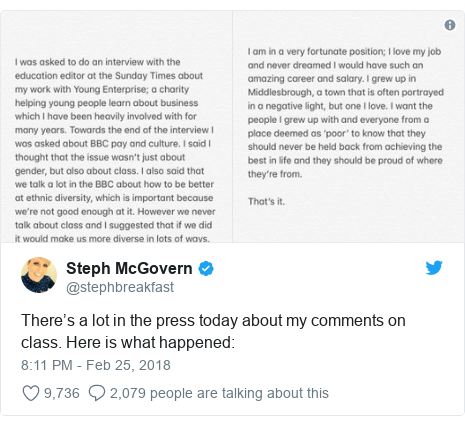 Twitter post by @stephbreakfast: There's a lot in the press today about my comments on class. Here is what happened