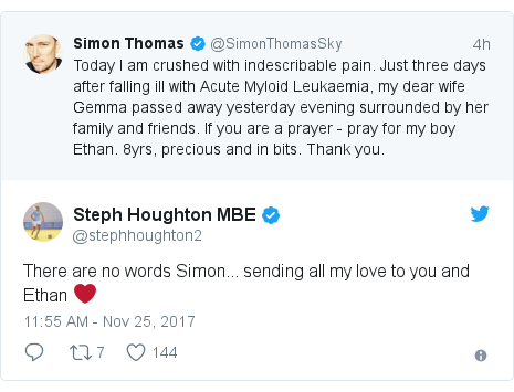 Twitter post by @stephhoughton2: There are no words Simon... sending all my love to you and Ethan ❤️